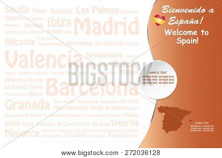 Travel  Spain Concept With Airplane, Map And State Emblem Of Spain In The Right Side Of The Vector.