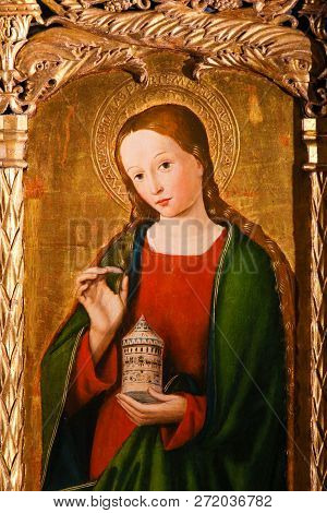 Monaco - November 13, 2018: Painting Of Mary Magdalene On The Altarpiece Of St Nicolas (1500) In The