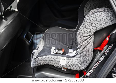 Child Safety Seat In The Back Of The Car. Baby Car Seat For Safety. Car Interior. Car Detailing. Chi