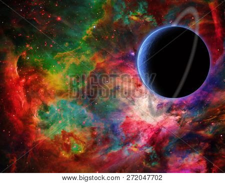 Exo planet in colorful universe. 3D rendering