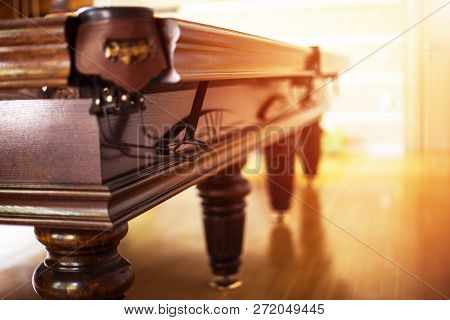 Billiard Table Close Up. Playing Billiard. Billiards Balls And Cue On Green Billiards Table. Billiar