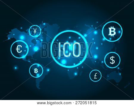 Ico And Currencies Icons With Globe Map Vector. Network And Connection Between Bitcoin, American Dol