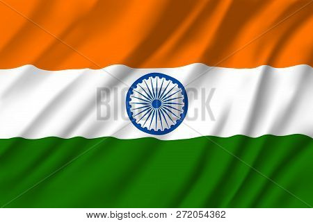 Flag Of India, National Three Colors With Round Emblem In Middle. Heraldry Republic Country Sign Wit