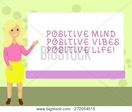 Conceptual Hand Writing Showing Positive Mind Positive Vibes Positive Life. Business Photo Showcasin