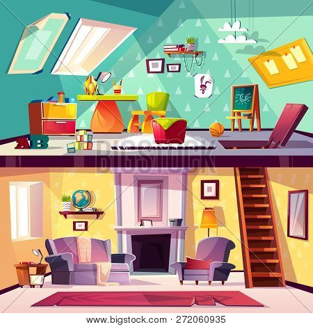 Vector Cross Section Background, Cartoon Interior Of Child Playroom On Attic, Living Room With Firep