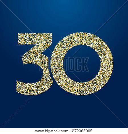 30 Th Years Old Logotype. Isolated Golden Color Abstract Dot Graphic Symbol Of 30%. Shiny Straight E