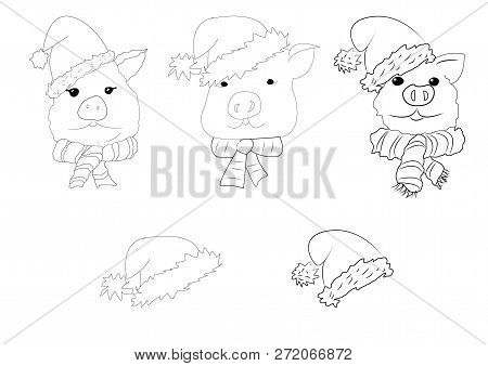 Christmas Coloring Set With Pigs. Black And White Raster Illustrations For Coloring Book. Christmas