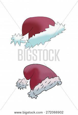 Set With Doodle Hats Santa Claus. Christmas Sketch.