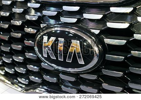 Kropivnitskiy, Ukraine  - 27 September, 2018: Close Up Kia Logo. New Kia Sorento Car Details At Moto