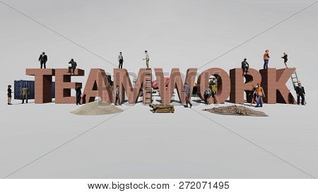 Word Teamwork And The Workers Who Work On It, 3d Rendering