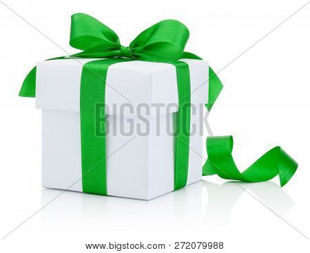 White Gift Box Tied Green Ribbon Bow Isolated On White Background