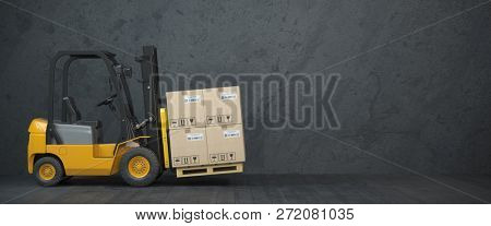 Forklift truck with cardboard boxes on  dirty wall background. 3d illustration