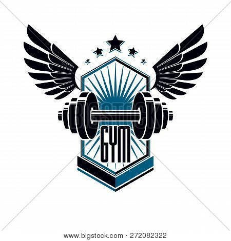 Logotype for heavyweight gym or fitness sport gymnasium, winged retro stylized vector emblem or badge With barbell. poster