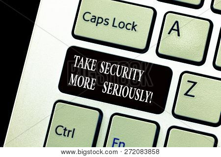 Word Writing Text Take Security More Seriously. Business Concept For Be Alert And Aware Of Possible