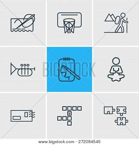 Vector Illustration Of 9 Lifestyle Icons Line Style. Editable Set Of Postcrossing, Hiking, Yoga And