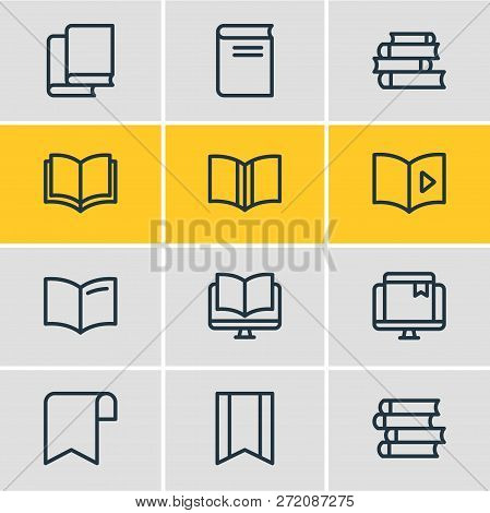 Illustration Of 12 Education Icons Line Style. Editable Set Of Publishing, Bookstore, Ebook And Othe