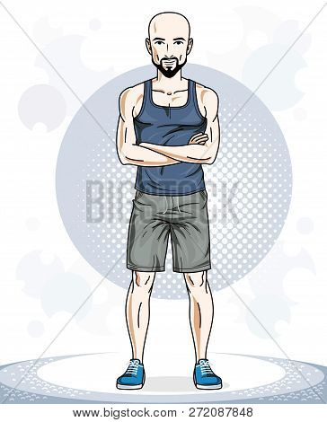 Handsome Bald Young Man Standing. Vector Illustration Of Sportsman With Beard And Whiskers.  Active