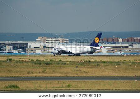 Frankfurt, Germany - Jun 09th, 2017: Lufthansa Airbus A380 Msn 66 - D-aimf Aircraft Takeoff From The