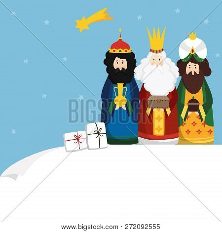 Christmas Greeting Card, Invitation. Three Magi Bringing Gifts And Falling Star. Biblical Kings Casp