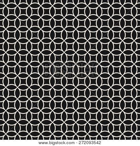 Circle Grid Pattern. Subtle Vector Seamless Texture With Thin Rounded Lines, Delicate Mesh, Net, Lat