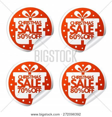 Christmas Sale 50,60,70,80 Percent Stickers With Box.vector Illustration
