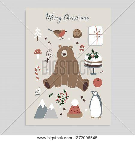 Merry Christmas Greeting Card, Invitation. Set Of Cute Christmas Animals And Food Icons. Bear, Pengu