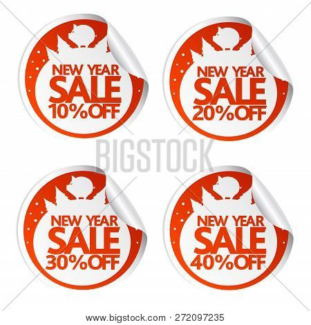 New Year Sale Stickers 10,20,30,40 With Pig.vector Illustration