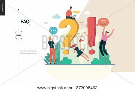 Business, Color 1- Faq -modern Flat Vector Concept Illustration Of Frequently Asked Questions People