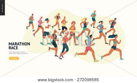 Marathon Race Group - Flat Modern Vector Concept Illustration Of Running Men And Women Wearing Summe