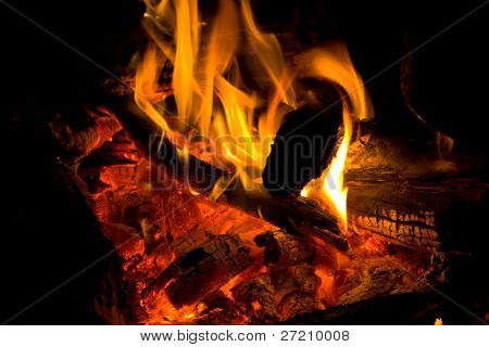 Hot campfire - abstract natural background poster