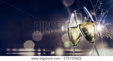champagne glasses New Year's Eve background 3d illustration
