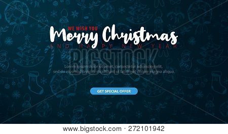 Merry Christmas And Happy New Year. Background With Hand-draw Christmas Doodle Elements. Vector Illu