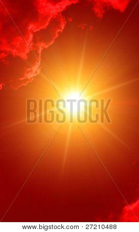 Hot sun in red sky