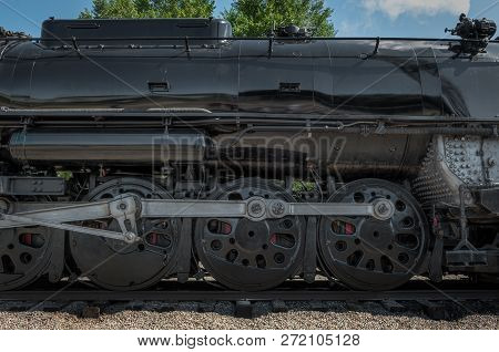 Minneapolis, Mn - September 8, 2018: Side Of The Milwaukee Road #261 Steam Train Sitting In Rail Yar