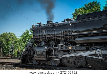 Minneapolis, Mn - September 8, 2018: Front Of The Milwaukee Road #261 Steam Train Sitting In Rail Ya