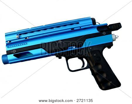 Blue Paint Ball Gun On White Background