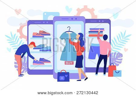 Mobile Shopping Consept. A Men And A Woman Buy Things In The Online Store. Shopping On Social Networ