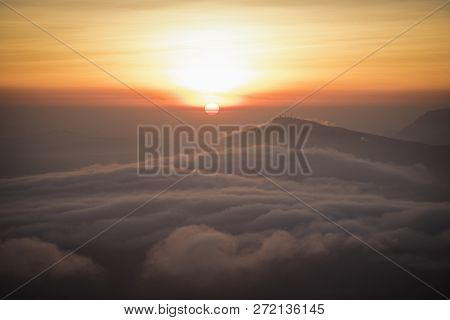 Foggy Landscape / The Morning Beautiful Sunrise Mist Cover Mountain Background - Forest Hill Mist Fo