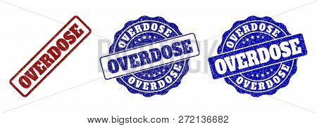 Overdose Grunge Stamp Seals In Red And Blue Colors. Vector Overdose Labels With Grunge Style. Graphi