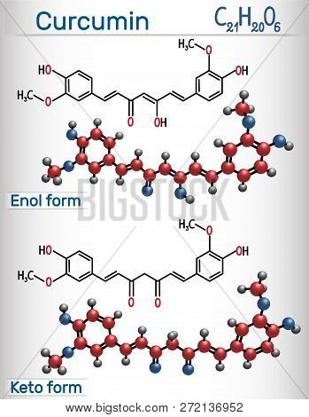 Curcumin Molecule. Enol And Keto Forms. It Is Used As An Herbal Supplement, Cosmetics Ingredient, Fo