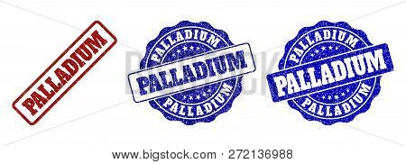 Palladium Scratched Stamp Seals In Red And Blue Colors. Vector Palladium Marks With Grunge Effect. G