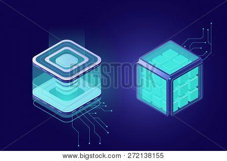 Cloud Computing, Big Data Isometric Icon, Server Room Rack Farm, Cryptographic Technology, Dark Neon