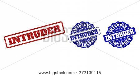 Intruder Grunge Stamp Seals In Red And Blue Colors. Vector Intruder Overlays With Dirty Effect. Grap