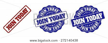 Join Today Scratched Stamp Seals In Red And Blue Colors. Vector Join Today Overlays With Dirty Textu