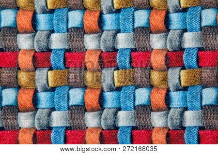 bright red blue and brown wicker fabric canvas for upholstery furniture indoor closeup poster