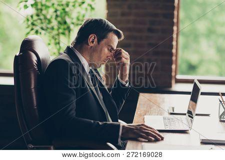 Profile Side View Portrait Of Elegant Classy Trendy Handsome Worried Man Company Founder Owner Clerk