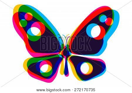 Vector Illustration Of A Butterfly In Cmyk Style. Colorful Butterfly On White Background