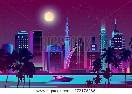 Vector Background With Night City In Neon, Ultraviolet Colors. Bright River With Boat On Full Moon B