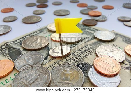 Close Up American Quarter, Dime And Penny Coins On Dollars Usa Background With Pin Flag. Concept Of