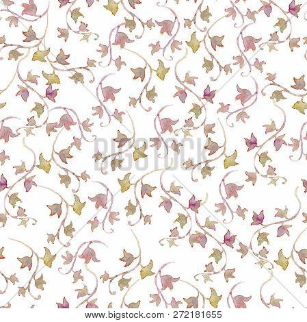 Gentle Seamless Pattern With Ivy. Background With Romantic Garden Flowers. Watercolor Illustration